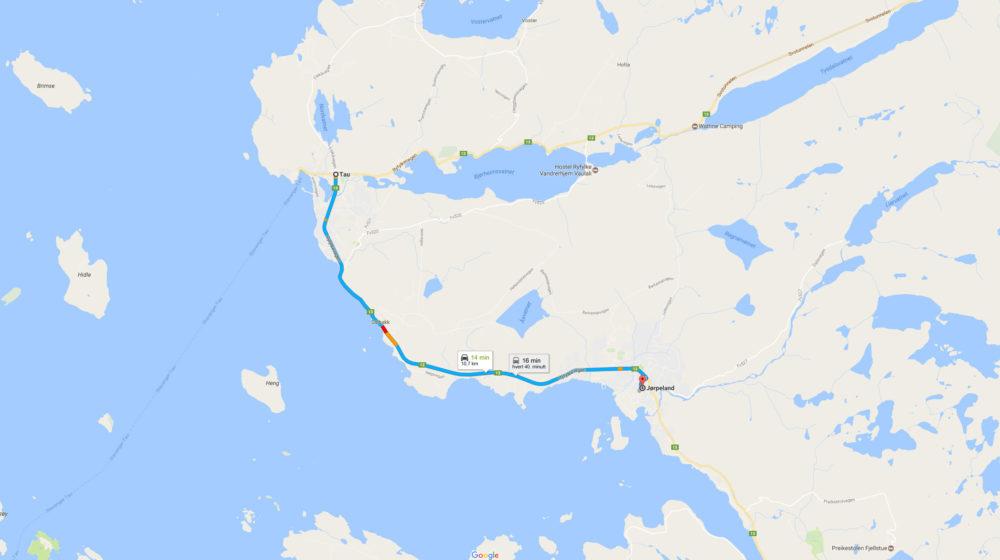 Kart som viser Jørpeland til tau